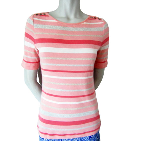 Betty Barclay Daily Friends Pink Striped Boat Neck T-shirt Size Small (6)