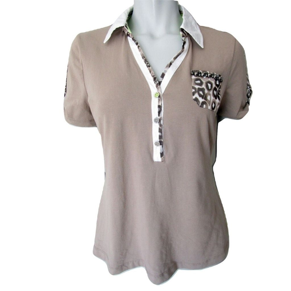 Betty Barclay Tan Collared T shirt with Leopard and Beading Details Size Medium (8)