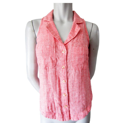 Anthropologie (Maeve) Pink and White Collared Sleeveless Linen Blend Top Size XS (0)