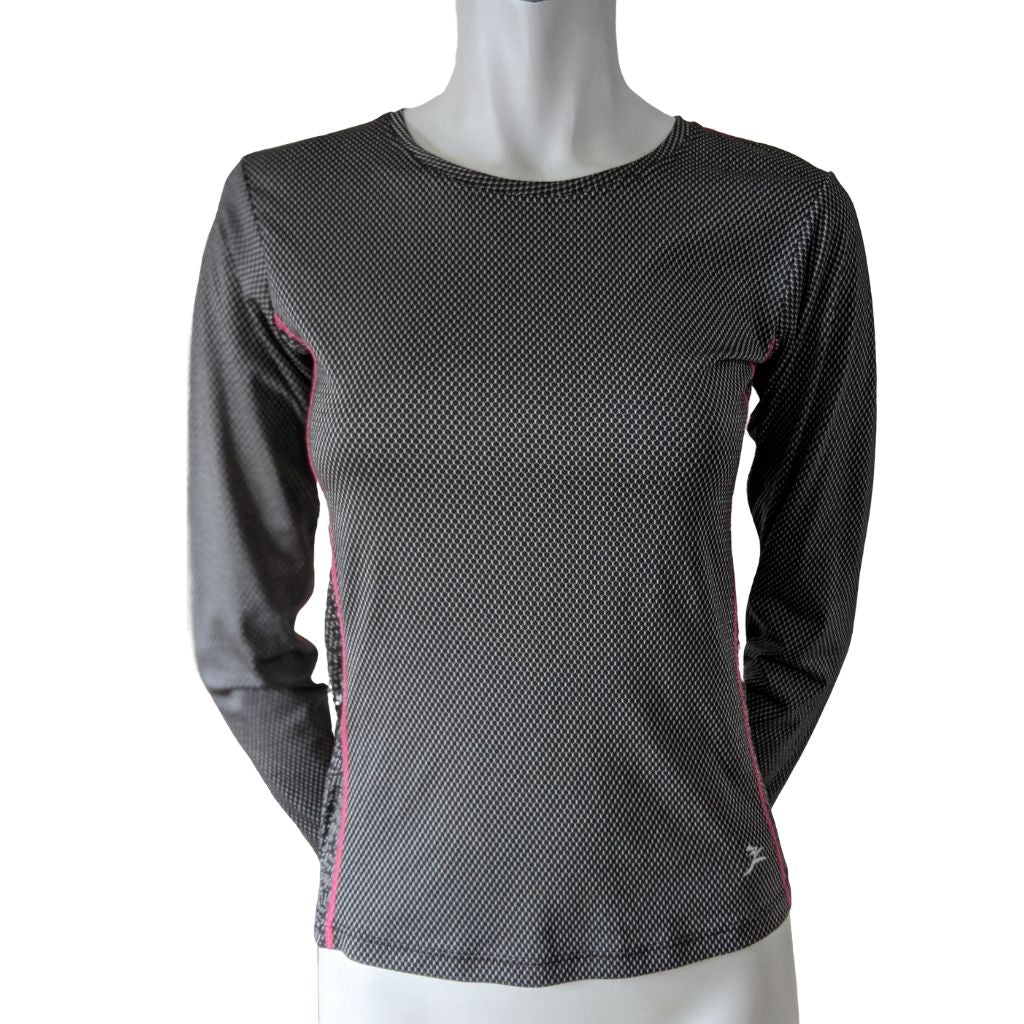 Run Girl Run Black and White Long Sleeved Athletic Top Size Small (4)