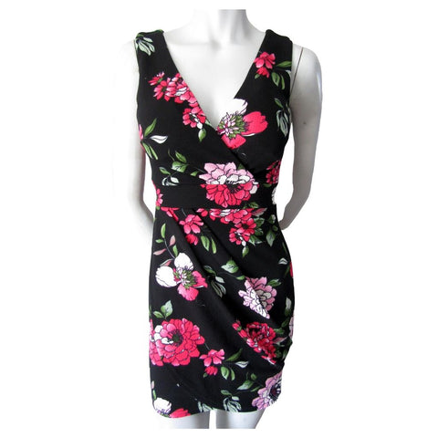 Revamped Black with Pink Floral Textured Mini Dress Size Small - fits Extra Small (0)