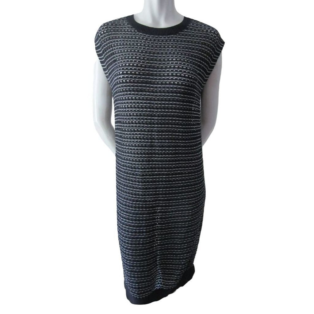 Allsaints Black and Silver Open Knit Dress Medium (8)