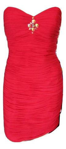 Alyce Paris Red Ruched Sweetheart Strapless Dress Size Small (6)