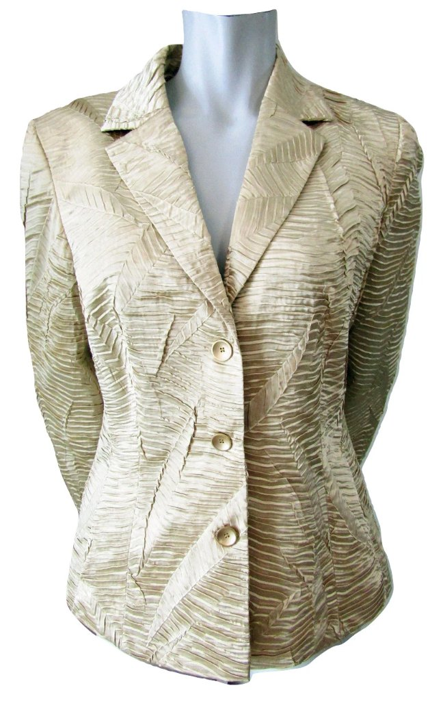 Apanage Gold Textured Jacket Size Medium (10)