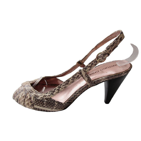 Arturo Chiang Beige and Brown Snakeskin Stamped Slingbacks 7M