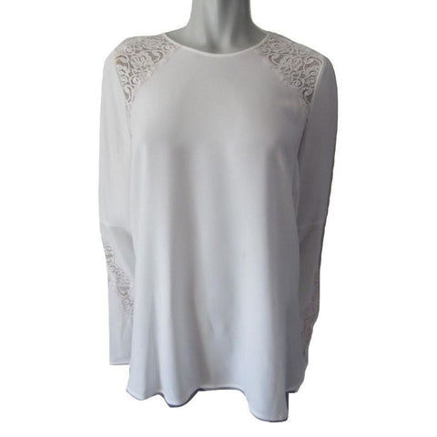 BCBGMaxAzria Chrystie White and Cream Blouse with Flared Sleeves Size Medium (8)
