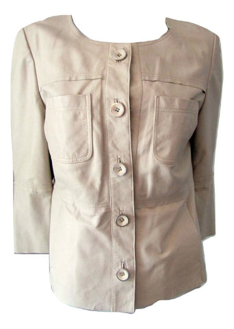 Betty Barclay Beige Leather Flared Sleeve Jacket Size Medium (10)