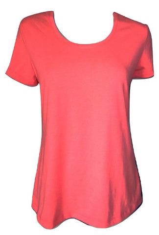 Betty Barclay Bright Orange Scoop Neck T Shirt Size Medium (10)