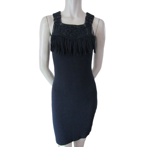 Black Swan Navy Ribbed Knit Dress with Macrame Fringe Size XS
