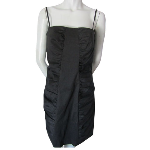 Calvin Klein Black Spaghetti Strap Nylon Blend Ruched Dress Size Large (12)