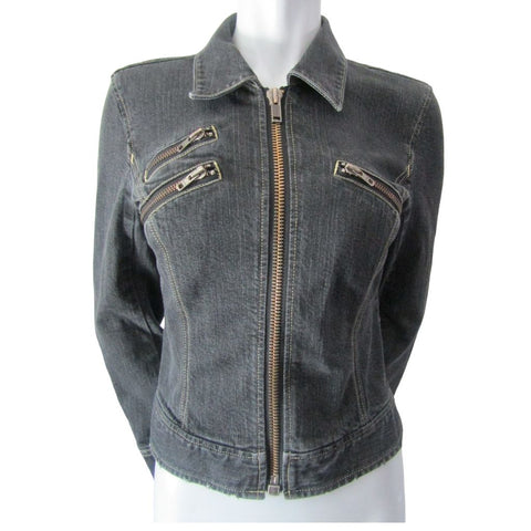 Calvin Klein Jeans Black Denim Cropped Jacket Size Medium (8)