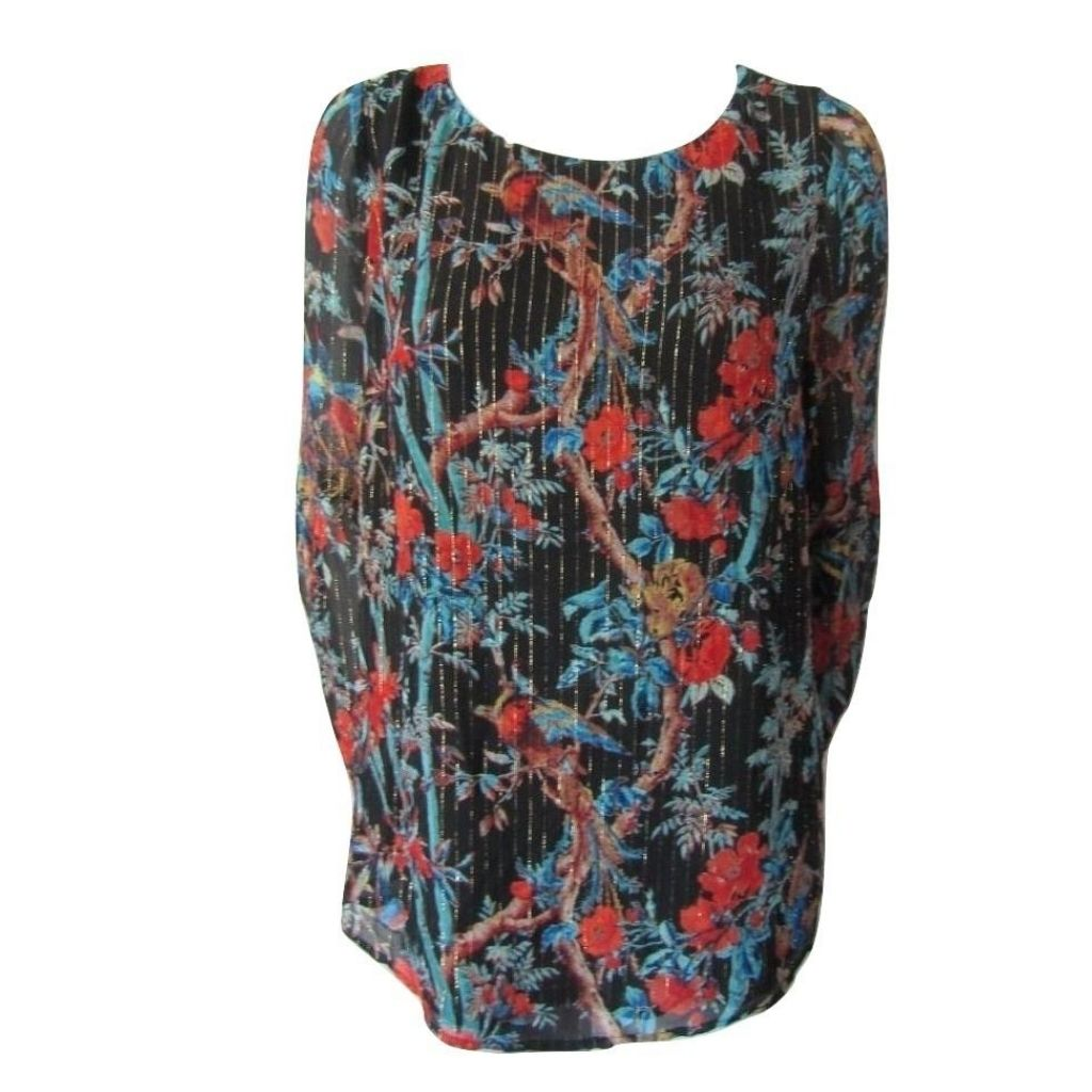 Club Monaco Black Floral Silk Blouse with Gold Thread Size Large (12)