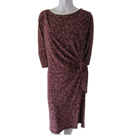 DKR Burgundy and White Dot 3/4 Sleeve Dress Size Extra Large (14)