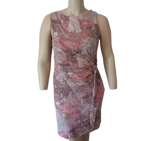 DKR Pink and Grey Sleeveless Side Gather Dress Size Large (12)