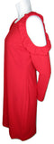 Glamourous Red Cold Shoulder Dress with Ruffles Size Large (12)