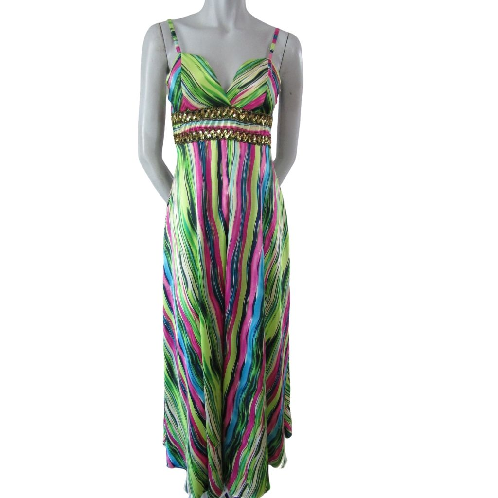 Ever Pretty Silky Multicoloured Full Length Dress Size Medium (8)