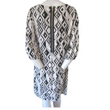Fenn Wright Manson Black and White Geometric Print Shift Dress Medium (10)