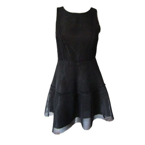 Finn & Clover Black Mesh Fit and Flare Dress Size Small (6)