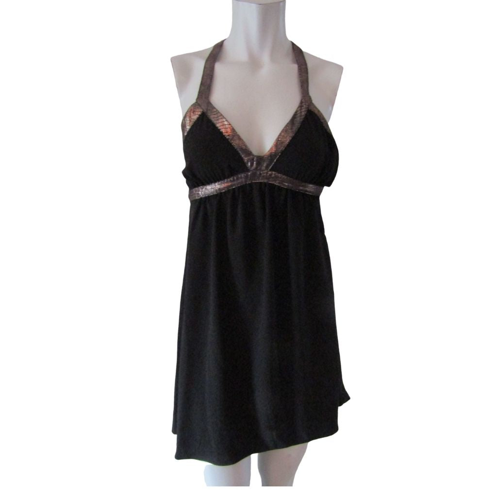 Gentle Fawn Black Minidress with Bronze Sueded Straps XS(0)