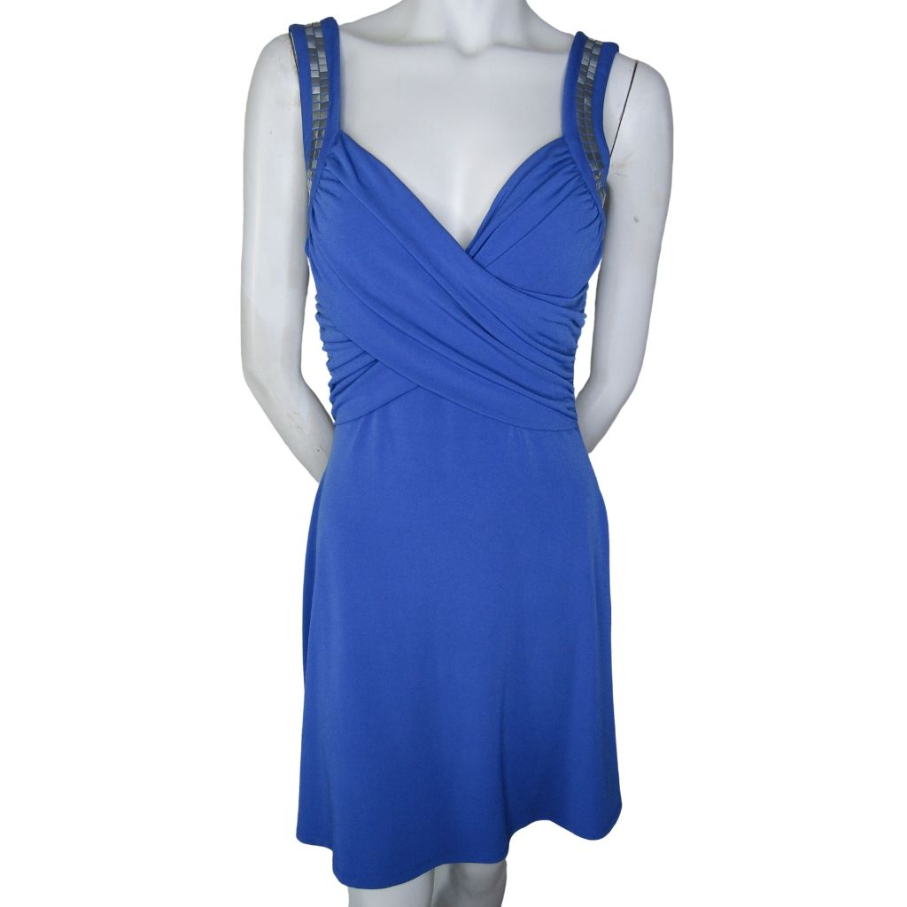 Guess Blue Studded Strap Wrap Style Top Dress Size Small (4)