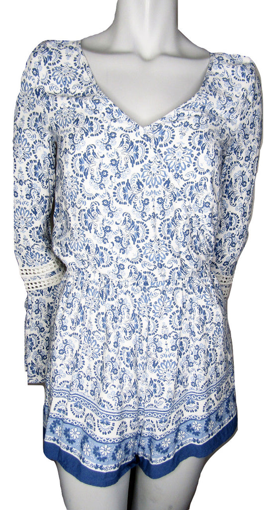 Hollister Blue and White Floral Romper with Bell Sleeves Size Small (6)