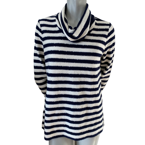 FDJ Navy and White Striped Cowl Neck Knit Top Size Small fits Med (8)