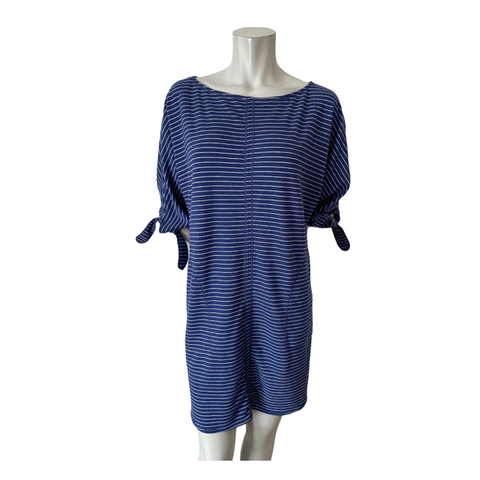 Max Studio Blue and White Striped Casual Dress Size Medium (fits Large/XL)