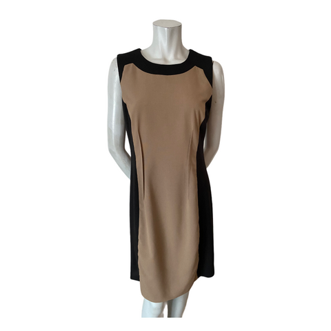 Calvin Klein Tan and Black Colour Block Dress Size Medium (10)