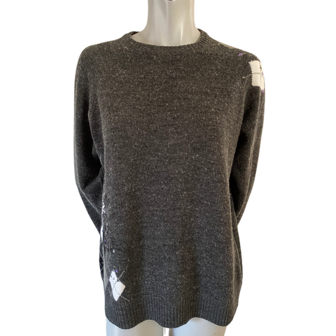 Billabong Grey Wool Blend Sweater with Argyle Accents Size Small (6)