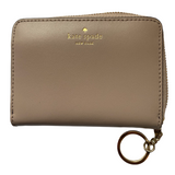 Kate Spade Tan Leather Coin Purse/Small Wallet with Key Chain