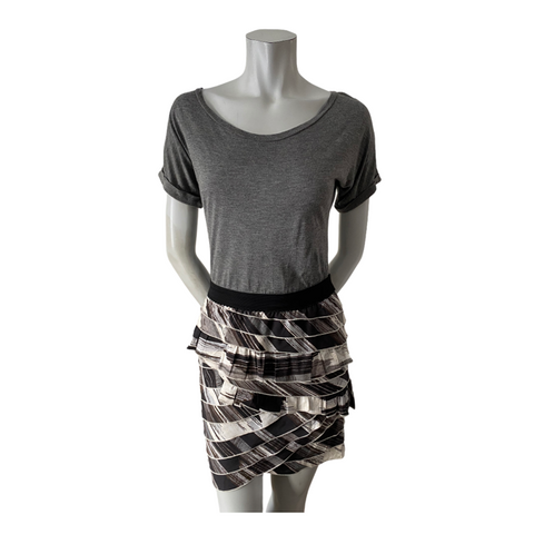 BCBGMaxAzria Grey, Black and Brown Ruffled Skirt Dress Size XS (2)