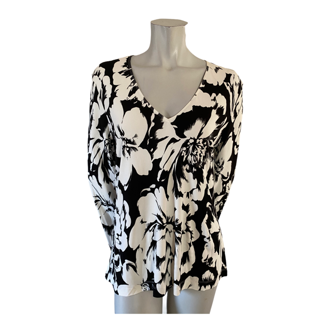 Ellen Tracy Ivory and Black Floral Top Size Large (12)
