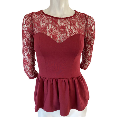 Guess Cranberry Sheer Lace Peplum Top Size XS (2)