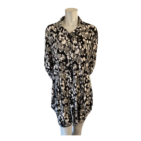 Pretty Woman Black/Grey and White Collared Drapey Tunic Size Large (12)