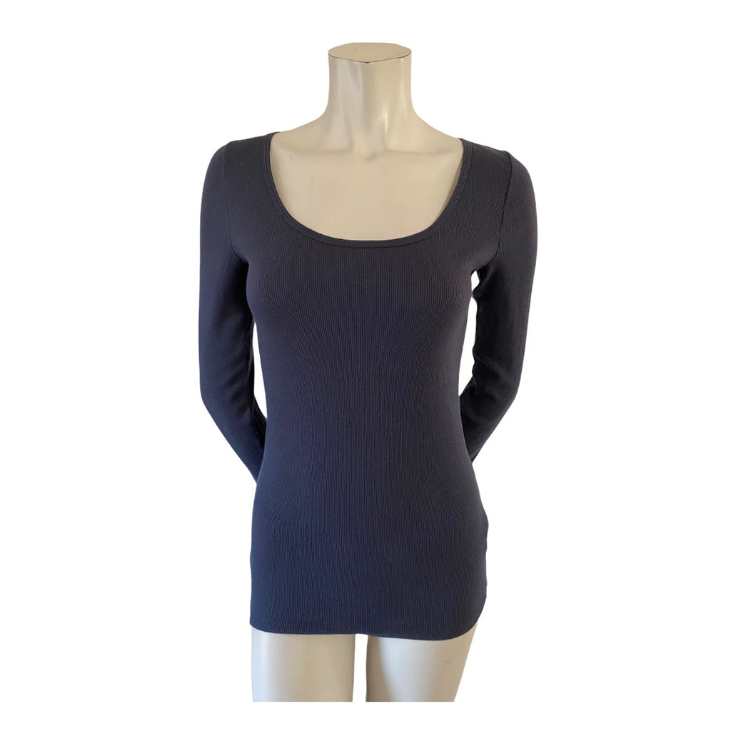 Abercrombie & Fitch Navy Long Sleeve Ribbed Scoop Neck Tshirt Size Medium (8)