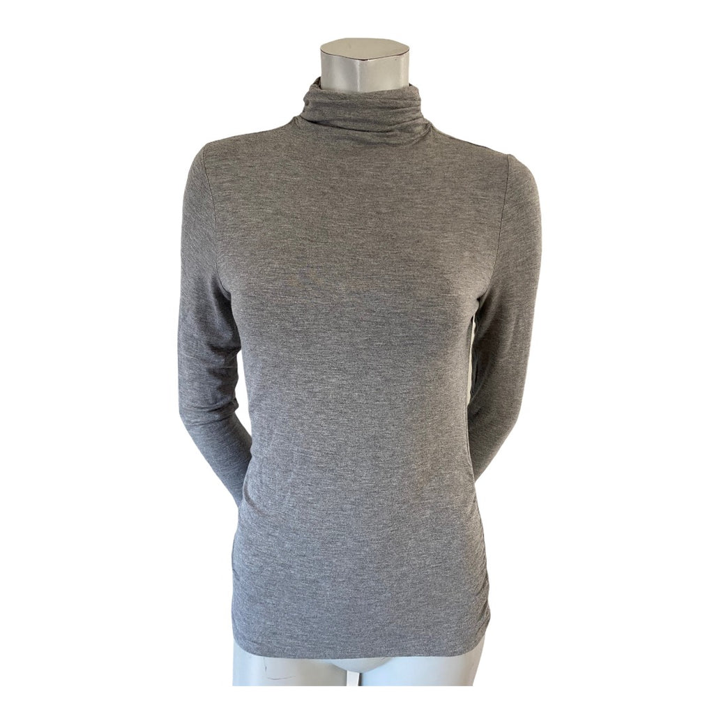 Tahari Grey Ruched Neck Turtleneck Size Large (12)