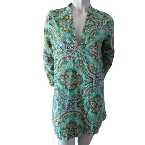 J Crew Factory Green and Pink Cotton 3/4 Sleeve Tunic Size Extra Small (2)