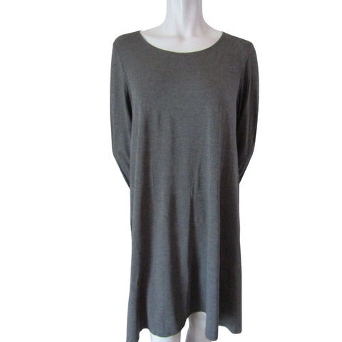 J Charcoal Grey Long Sleeved A Line Dress Sizes Large (12)