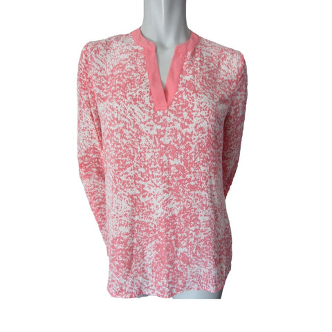 Kenneth Cole Select Pink and White Collarless Blouse Size Small (6)