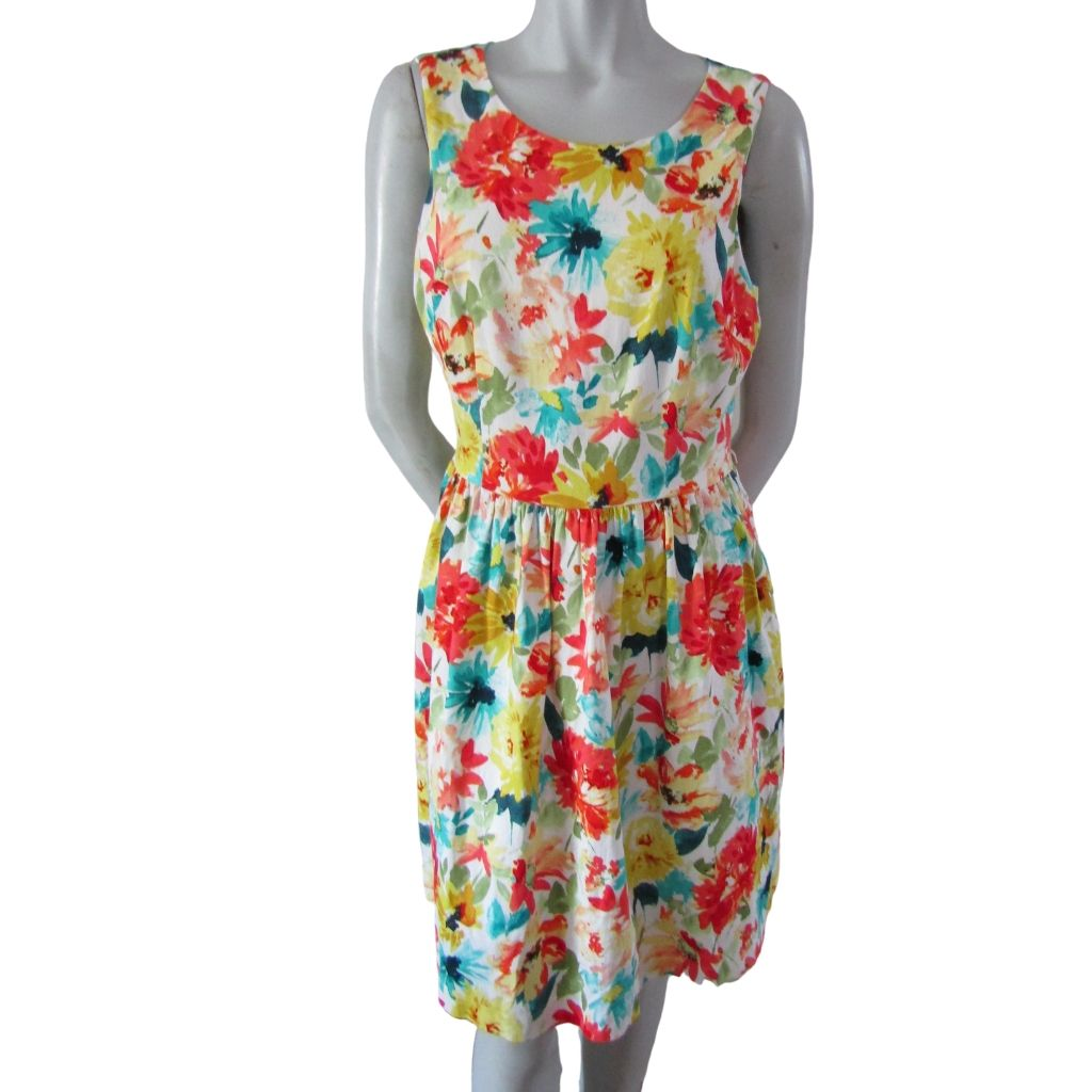 Laura Open Back Floral Dress Size Large (12)