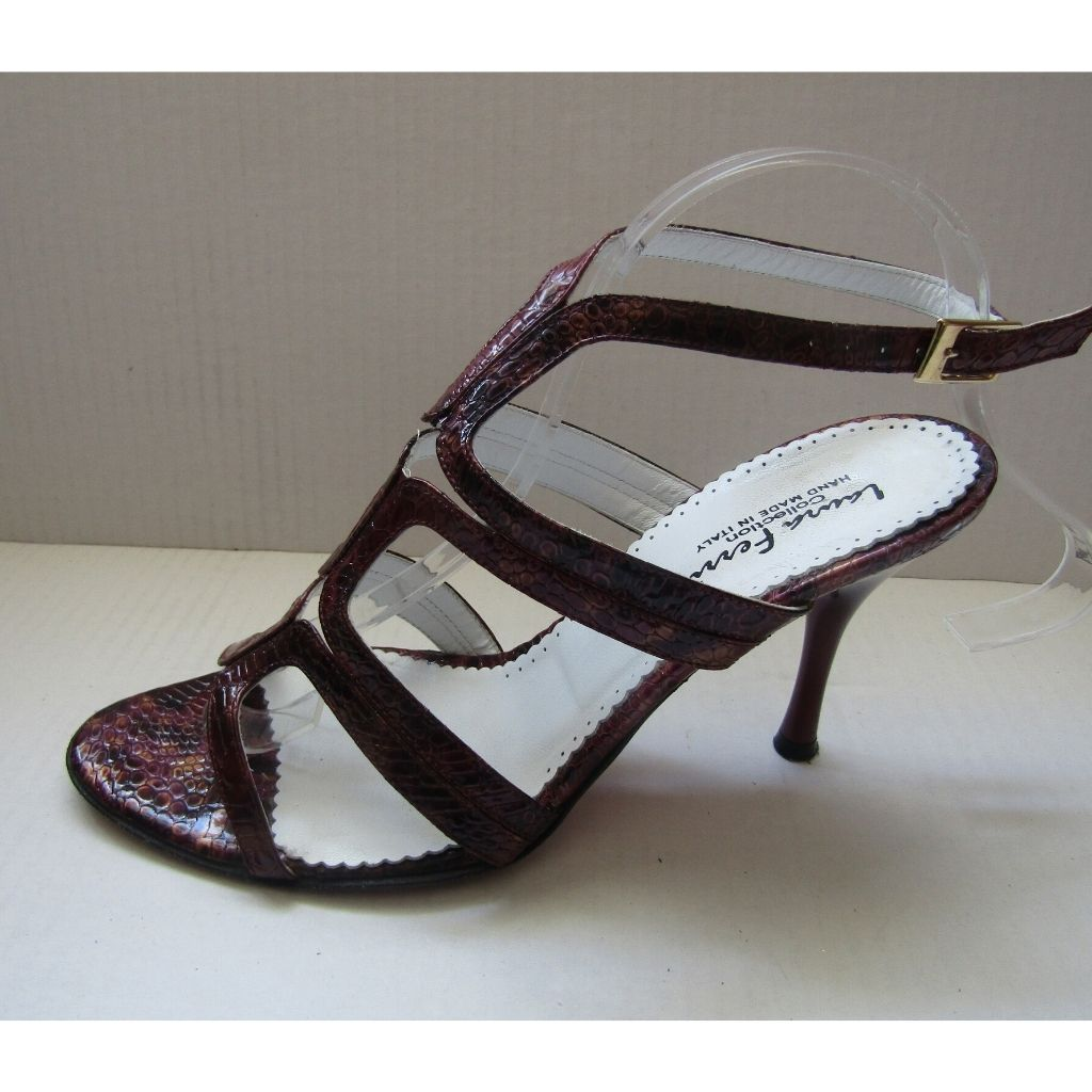 Laura Ferri Collection Burgundy Patent Leather Snakeskin Heels 38.5 (8)