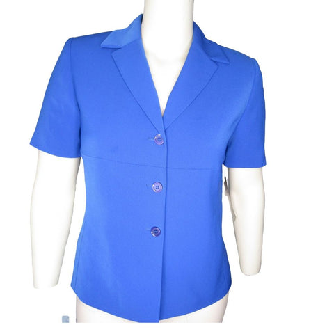 Le Suit Cobalt Blue Short Sleeved Jacket Size Large (12)