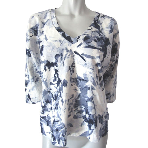 Lole Haut North Blue and White Boxy 3/4 Sleeve Top Size Medium (8)