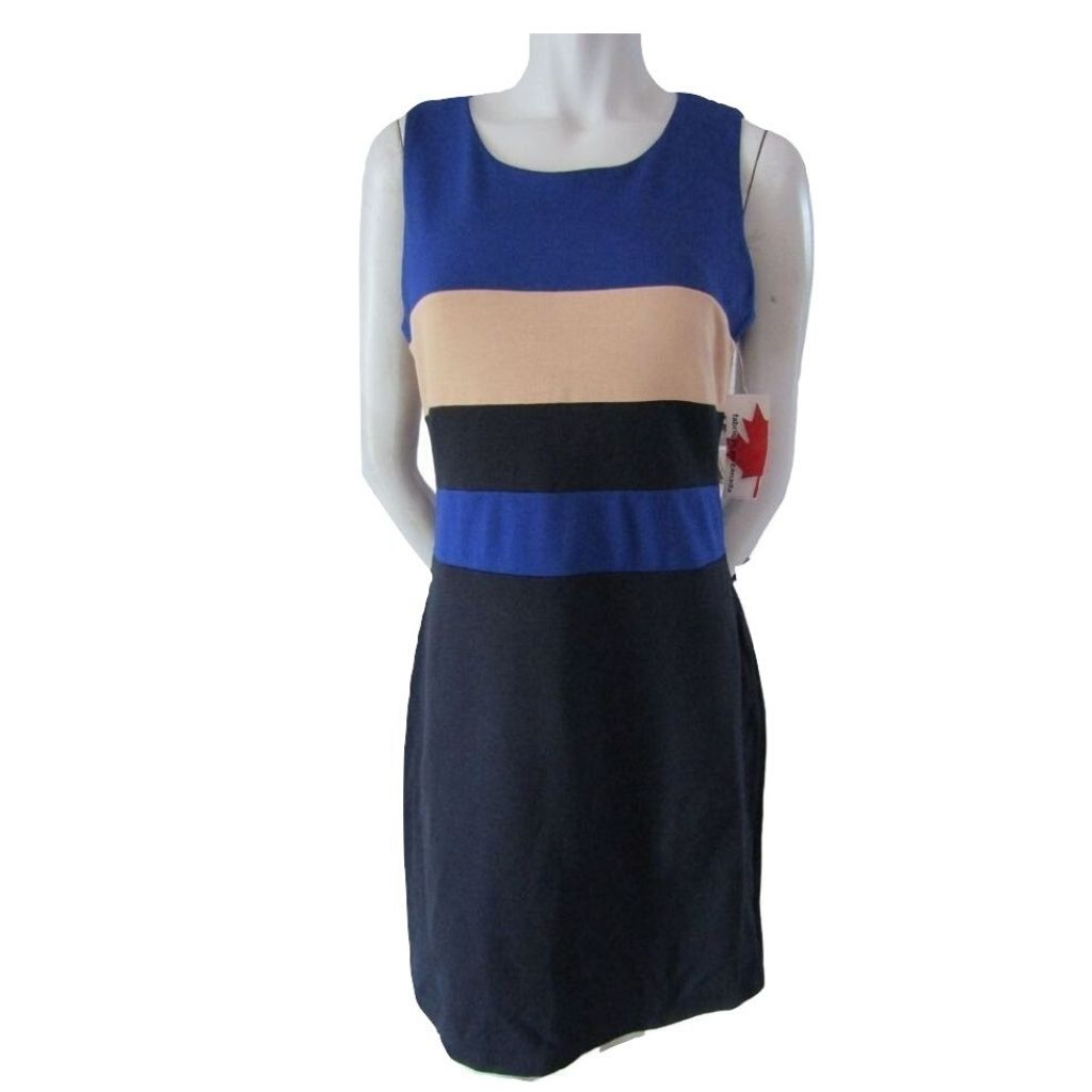 Lori M Navy, Blue and Beige Sheath Dress Size Medium (8)