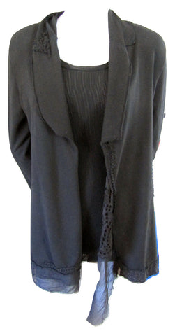 Love and Liberty Black Open Cardigan with Raw Edges Size Small (6)