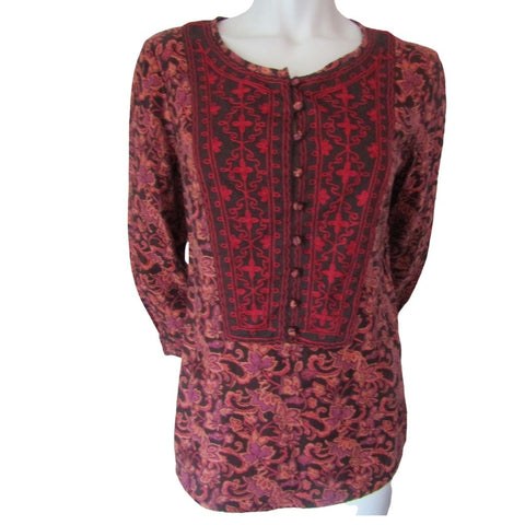 Lucky Brand Floral and Embroidered 3/4 Sleeve Blouse Size Small (6)