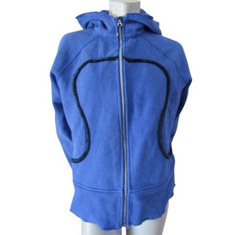 Lululemon Blue and Black Frayed Hem Scuba Hoodie Size Large (12)
