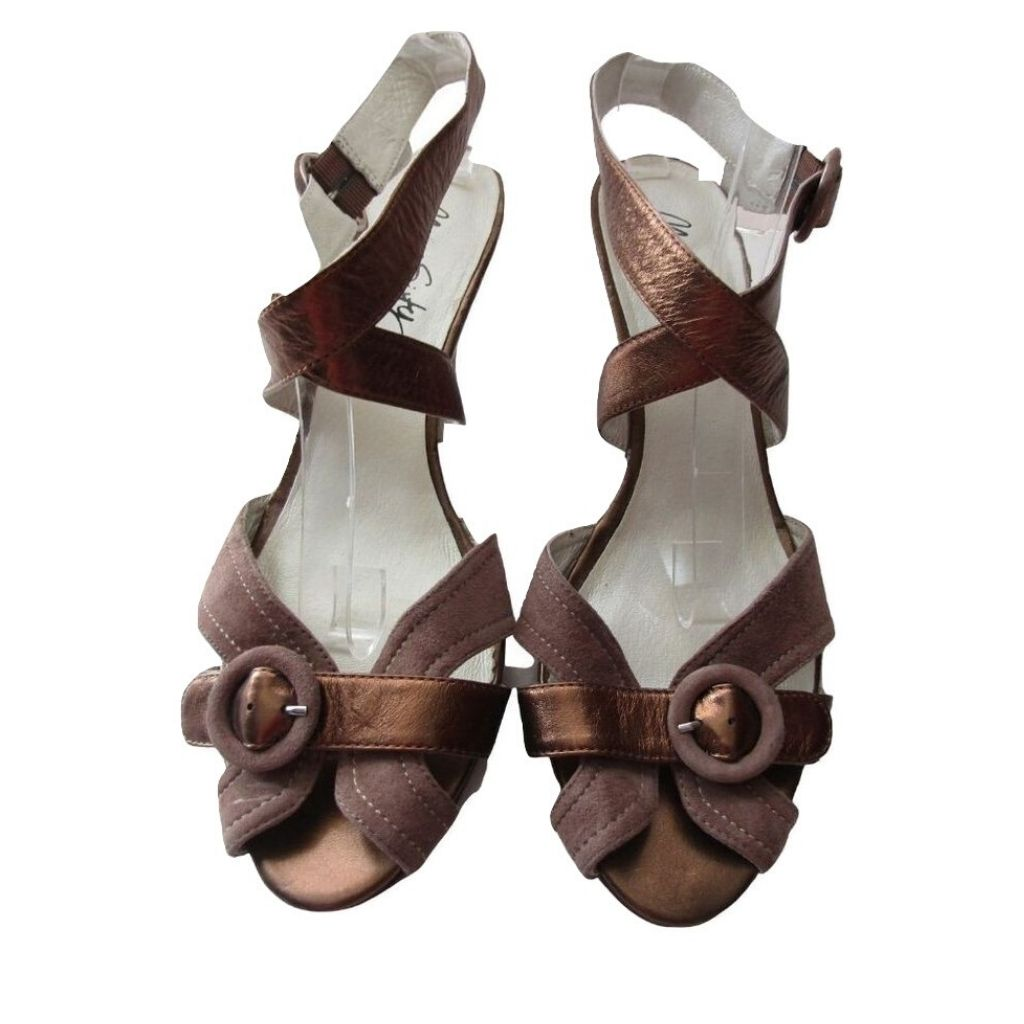Miss Sixty Brown Suede and Bronze Leather Ankle Wrap Sandals 41 (size 10)