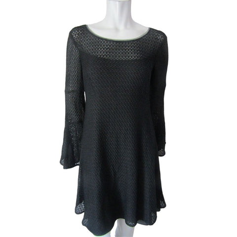 Nanette Lepore Black Netted Bell Sleeve Dress Size Medium (10)