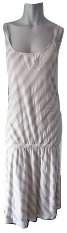 Oui Set White and Mauve Diagonal Stripe Drop Waist Dress Size Medium (10)